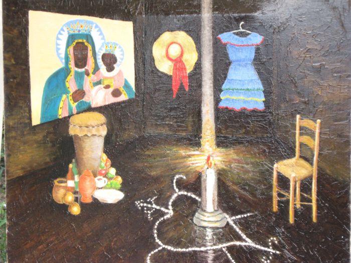 Ginette Doumont, peintre haïtienne et l´historien haïtien Carlo A. Celius